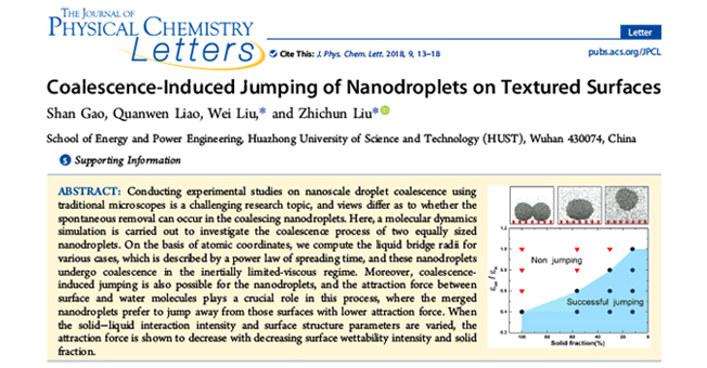 Dr. Shan Gao's paper was published on The Journal of Physical Chemistry Letters